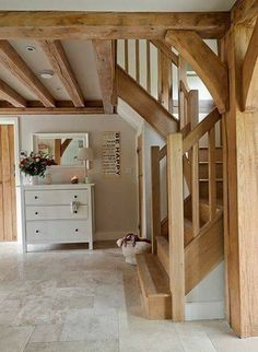 from small acorns .: weathered oak house - ideas around the . - from small acorns ………: weathered oak house – ideas around the … – Cottage Küche – # - Cottage Staircase, Cottage Hallway, Style At Home, Border Oak, Oak Frame House, House Ideas, Cottage Interiors, Staircase Design, Wood Staircase