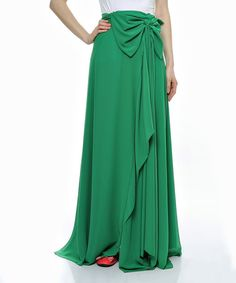 Love this Green Bow Maxi Skirt on #zulily! #zulilyfinds
