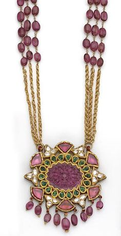 A Moghul style ruby, emerald, diamond and gold pendant necklace