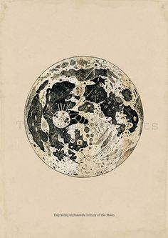 Astronomy Print Antique engraving of the Moon by TheCuratorsPrints