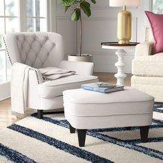 "Becker 24"" Armchair and Ottoman & Reviews"
