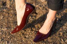 Burgundy patent leather kitten heels