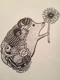 Zentangle Hedgehog. There isn't a lot out there so I had to wing it. He turned out adorable!!