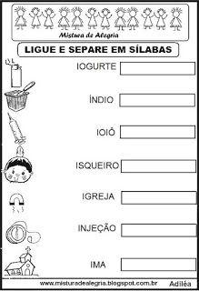 Separação silábica Math Equations, Education, Words, Homeschooling, Reading Activities, Literacy Activities, Worksheets, Letter I, Pintura