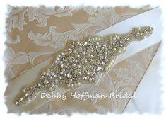 Rhinestone Crystal Pearl Wedding Sash by DebbyHoffmanBridal, $98.00