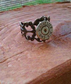 Antique Bronze .243 Winchester Adjustable Ring by CaliberCreation, $12.00