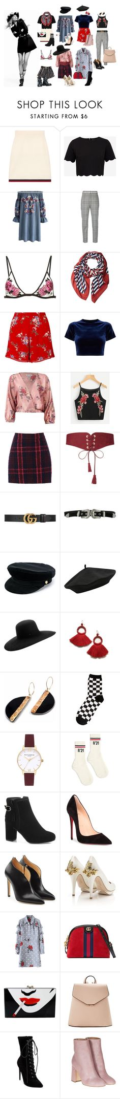 """""""I roll my eyes at you, boy //"""" by monstermo ❤ liked on Polyvore featuring Gucci, Ted Baker, Chicwish, Alexander Wang, Fleur du Mal, Marc Jacobs, Miss Selfridge, Sans Souci, Oasis and Maison Boinet"""