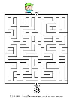 어린이 미로찾기프린트-축구꼬마 길찾기 child maze game:: Maze Worksheet, Worksheets, Mazes For Kids, Educational Games For Kids, First Art, Brain Teasers, Puzzles, Artworks, Coloring