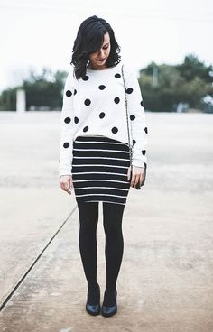 Spring Transitions - black and white polka dots and stripes Muster Mix Outfits, Fall Outfits, Cute Outfits, White Fashion, Polka Dot Fashion, Curvy Fashion, Fashion Fashion, Looks Street Style, Pattern Fashion