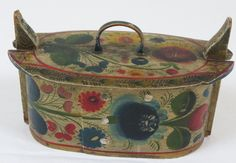 A vintage Norwegian hand painted tine box - painted in rosemåling style