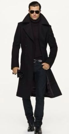 Classic Black, Coat, Turtleneck, Jeans, and Shoes, by Ralph Lauren.  Men's Fall Winter Fashion.
