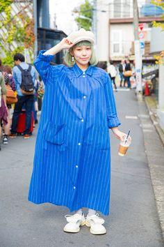 01-tokyo-fashion-week-street-style oversized stripes, maybe layered stripes... w/ sneaks