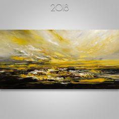 Yellow and Black Acrylic Seascape on Canvas / Abstract Palette Knife Artwork / Original Fine Art / Ocean Scene / Beach Home Decor Ocean Scenes, Artwork Online, Large Artwork, Palette Knife Painting, Black Acrylics, Beautiful Morning, Abstract Canvas, Oeuvre D'art, Les Oeuvres