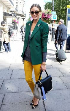 tailored jacket meets casual sweater meets pop of colour meets stiletto =  perfection!