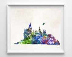 Hogwarts Castle Harry Potter Print Watercolor by InkistPrints