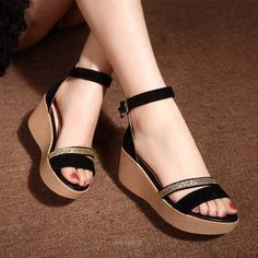 Summer new style Genuine Leather Sandals Women Korean style Thick soled Comfortable heighten Sandals Black colors Pretty Shoes, Cute Shoes, Pretty Sandals, Beautiful Sandals, Girls Sandals, Girls Shoes, Women Sandals, Shoes Women, Black Sandals
