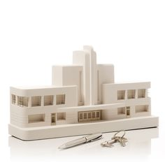 Greyhound Terminal Model. Product Shot Side View. Architectural Sculpture by Chisel & Mouse