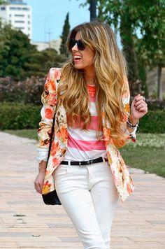 floral blazer + pink stripes