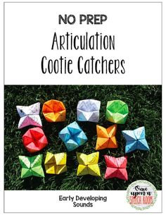 NO PREP Articulation Cootie Catchers for Early Developing Sounds Preschool Speech Therapy, Articulation Therapy, Articulation Activities, Language Activities, Preschool Activities, Speech Language Pathology, Speech And Language, Education Information, Speech Room