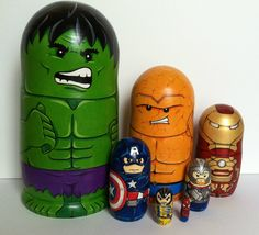 Set of seven Marvel Superhero nesting dolls!  All dolls are made to order!  Visit my shop at www.etsy.com/shop/thenestingpage