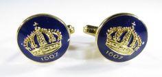 Gold Tone Cufflinks with Bruk of Sweden Crown and Blue Enamel by Skultuna #Skultuna