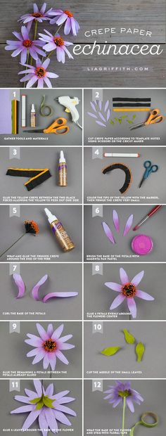 Learn how to make easy crepe paper echinacea flowers DIY Paper Flowers Giant Paper Flowers, Fake Flowers, Diy Flowers, Fabric Flowers, Flower Crafts, Flower Art, Crepe Paper Crafts, Diy Paper, Paper Crafting