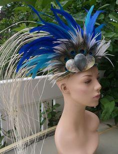 Tahitian costume peacock neck piece. $35.00, via Etsy.