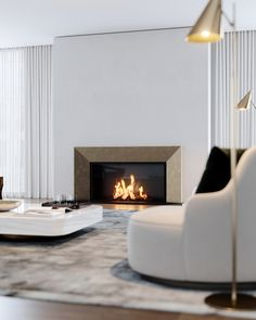 This custom bronze mantelpiece is an element we're particularly fond of from this London project. Set against the ribbed steel backdrop and gas fire, it really brings this space to life! Wood Fireplace, Fireplace Design, Wall Fireplaces, Modern Fireplaces, Exterior Design, Interior And Exterior, Wall Cladding Designs, Wall Design, House Design