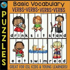 These Basic Vocabulary puzzles are great for ESL Students and Young Learners. Just print, laminate (if needed), cut them out and then get your kids to put them back. They will play and learn or revise 64 basic verbs.All puzzles come in color and b/w versions.Please take time to rate this product after download.