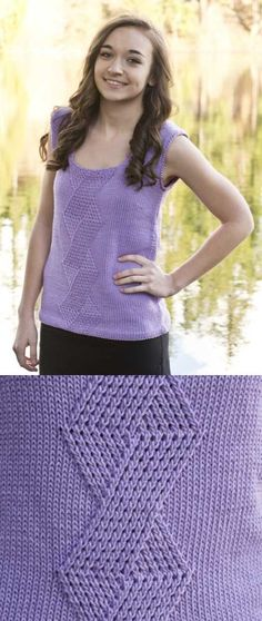 Free Knitting Pattern for a Criss-Cross Shell Top.
