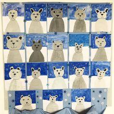 ❄️ • e i s b ä r • ❄️ . . . Meine liebsten Kuscheltiere als ich ein kleiner Stöpsel war: Lars der Eisbär und Benno der Bär  Bären finde ich einfach toll  Deshalb war ich auch schockverliebt in diese tolle Kunstidee von Pinterest! Meine Dritt- und Viertklässler haben in 45 Minuten an zwei Tagen tolle Eisbären gemalt und wie immer sehen die Bilder wenn sie hängen wunderschön aus  Dazu habe ich noch kleine Schneeflocken ausgestanzt und dekoriert ❄️ Und so gehts: 1️⃣ Grauton mischen und Bä...
