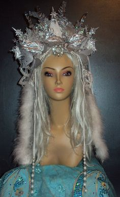 71088d21606 Snow Queen Ice Princess Winter Goddess Yule Headdress by Sarieka Ice Queen  Costume