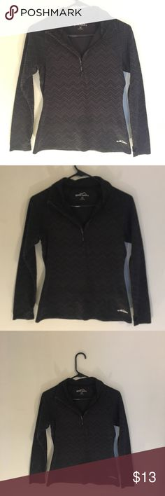 "Eddie Bauer Women's quarter zip pull over SMALL Eddie Bauer Women's quarter zip pull over - small   Nice and warm! ⛄️ 57% Cotton  43% polyester  Gently used no rips or stains all zippers work fine.  Great condition  Has thumb holes and a zip pocket on the size.  Across the thinnest part of the torso area is 16"" across  Armpit from end of Sleeve is approx 20"" Eddie Bauer Tops Sweatshirts & Hoodies"