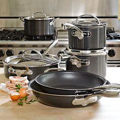 Williams-Sonoma Hard-Anodized Nonstick Copper Core 10-Piece Cookware Set | Williams-Sonoma