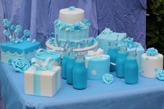 Blue milk and polka dots for a princess party would also work for a baby boy shower.