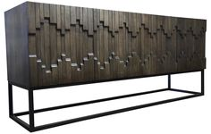 in reality this is a buffet, i'm thinking of creating it as an art piece with maybe a colored accent - front, back, or tips of wood?