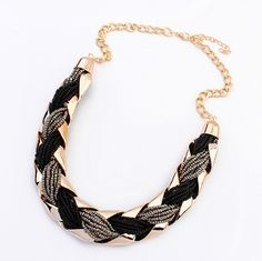 Fashion Weave Metal Bead Statement necklaces pendants Choker Necklace Women 2016 necklaces & pendants Bohemia Necklace