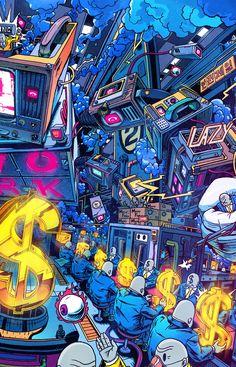 You could be the next winner....... Acid Art, Arte Legal, Arte Digital, Doodle Art, Cool Wallpaper, Game Art, Dope Wallpapers, Popular Art, Cyberpunk Art