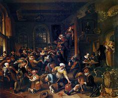 MusicArt EGG DANCE - Jan Steen (1674) Pintor holandés apreciado sobre todo en el siglo XVIII por sus escenas costumbristas y de género. Hijo de un cervecero, estudió en la Universidad de Leiden, donde estaba inscrito en 1646. Dos años más tarde formó parte del gremio de pintores de su ciudad natal. Las. primeras escenas que realizó se fechan en la década de 1640, y en ellas sus personajes tienen un aire grotesco. Entre los maestros que se han mencionado como formadores de su estilo se…