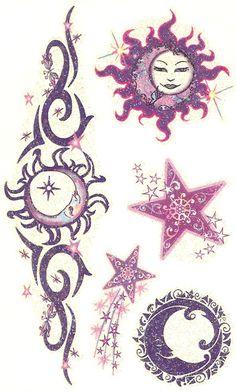 I only like the 2 star tattoos Back Tattoos, Future Tattoos, Body Art Tattoos, New Tattoos, Cool Tattoos, Tribal Sun Tattoos, Wing Tattoos, Celtic Tattoos, Animal Tattoos