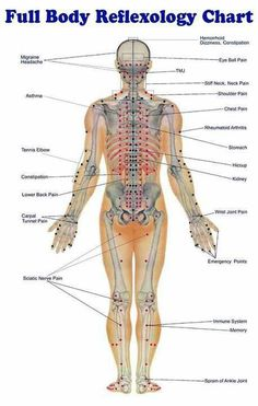 Full body reflexology chart. Carefully check the areas where you are feeling tension or pain. See what Reflexology point it correlates to.