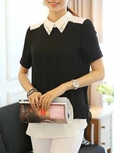 Attractive Lapel Beading Blouses | fashionmia.com