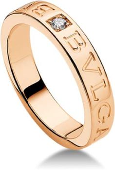 d55f79449 Bulgari Bvlgari 18K Rose Gold and Diamond Band Ring AN854185 Gold Diamond  Rings, Yellow Gold