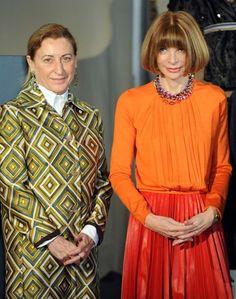 Miuccia Prada & Anna Wintour at press conference in Milan