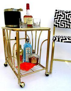 Hollywood Regency Brass Bar Cart Milo Baughman by ElectricMarigold, $525.00