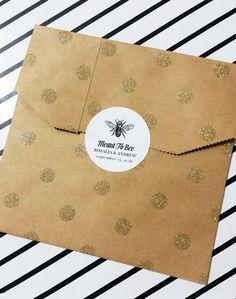 Bruiloft Stickers, bedoeld om te Bee Stickers, gunst tas etiketten, aangepaste Stickers voor het afdichten van de envelop, Vintage Bee Stickers, 60 stuks