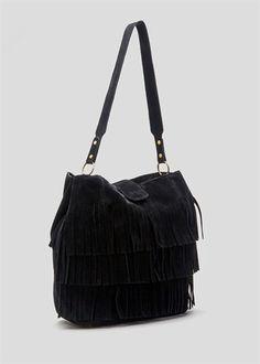 Faux Suede Tassel Slouch Bag