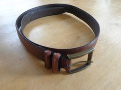 Vintage Brown Genuine Leather Mens Womens Unisex Belt with Gold Tone Hardware 44 Inches