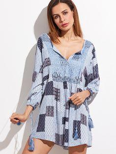 Shop Blue Tribal Print Crochet Front Tassel Tie Neck Dress online. SheIn offers Blue Tribal Print Crochet Front Tassel Tie Neck Dress & more to fit your fashionable needs.