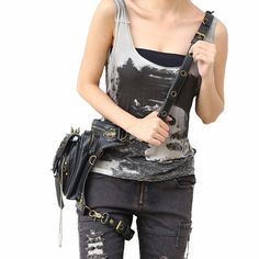 $77.99 Steampunk Funk Skulls  Gothic Bag  Riveted Leg / Waist Bag On Sale